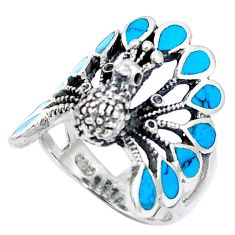 Fine blue turquoise enamel 925 sterling silver ring size 6.5 c12391