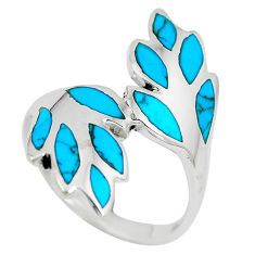 5.89gms fine blue turquoise enamel 925 sterling silver ring size 8.5 c12678