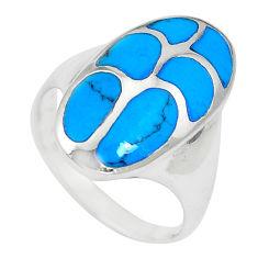 5.02gms fine blue turquoise enamel 925 sterling silver ring size 6.5 c12855