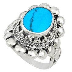 Fine blue turquoise enamel 925 sterling silver ring size 7.5 c21655
