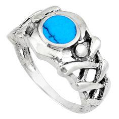 3.69gms fine blue turquoise enamel 925 sterling silver ring size 6.5 c26144