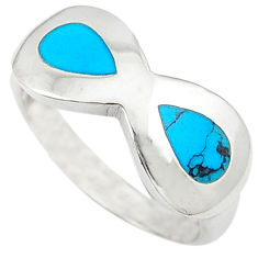 Fine blue turquoise enamel 925 sterling silver ring jewelry size 8.5 c11873