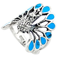Fine blue turquoise enamel 925 sterling silver ring jewelry size 5.5 c11890