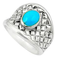 Fine blue turquoise enamel 925 sterling silver ring jewelry size 6.5 c12171
