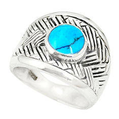 Fine blue turquoise enamel 925 sterling silver ring jewelry size 6.5 c12268