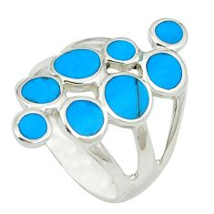 Fine blue turquoise enamel 925 sterling silver ring jewelry size 6.5 c12362