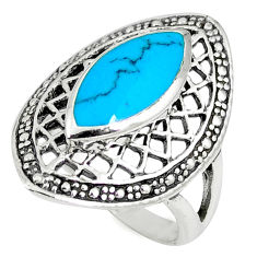 Fine blue turquoise enamel 925 sterling silver ring jewelry size 5.5 c12787