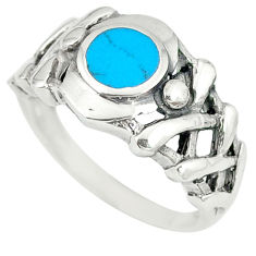 Fine blue turquoise enamel 925 sterling silver ring jewelry size 7.5 c12846