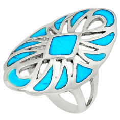 Fine blue turquoise enamel 925 sterling silver ring jewelry size 6.5 c12893
