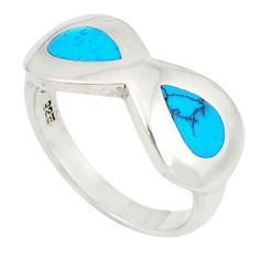 Fine blue turquoise enamel 925 sterling silver ring jewelry size 6.5 c21903