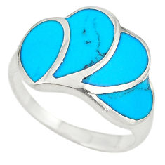 Fine blue turquoise enamel 925 sterling silver ring jewelry size 8.5 c21905