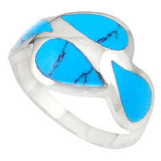 Fine blue turquoise enamel 925 sterling silver ring jewelry size 8.5 c21906