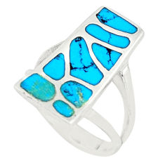 Fine blue turquoise enamel 925 sterling silver ring jewelry size 5.5 c21987