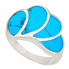 Fine blue turquoise enamel 925 sterling silver ring jewelry size 7.5 c21991