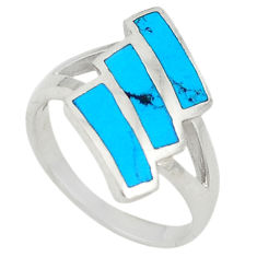 Fine blue turquoise enamel 925 sterling silver ring jewelry size 6.5 c21992