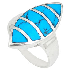 Fine blue turquoise enamel 925 sterling silver ring jewelry size 6 c11941