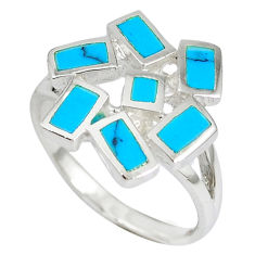 Fine blue turquoise enamel 925 sterling silver ring jewelry size 7 a41806 c13544