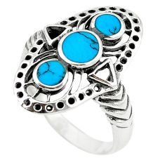Fine blue turquoise enamel 925 sterling silver ring jewelry size 7 c11953