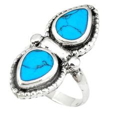 Fine blue turquoise enamel 925 sterling silver ring jewelry size 7 c11955