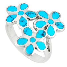 Fine blue turquoise enamel 925 sterling silver ring jewelry size 7 c12604