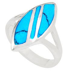 Fine blue turquoise enamel 925 sterling silver ring jewelry size 7 c12859