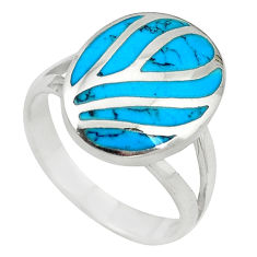 Fine blue turquoise enamel 925 sterling silver ring jewelry size 8 a55049 c13001