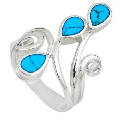 Fine blue turquoise enamel 925 sterling silver ring jewelry size 8 c12603