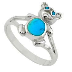 Fine blue turquoise enamel 925 sterling silver ring jewelry size 8 c12978