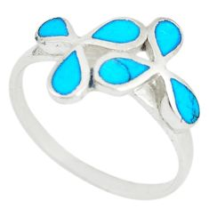 Fine blue turquoise enamel 925 sterling silver ring jewelry size 9 a67629 c13549