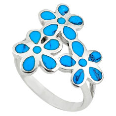 Fine blue turquoise enamel 925 sterling silver ring jewelry size 9 c12608