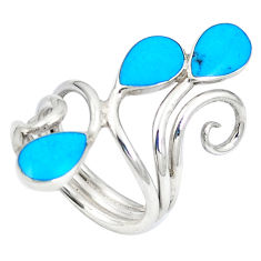 Fine blue turquoise enamel 925 sterling silver ring size 6 c12107
