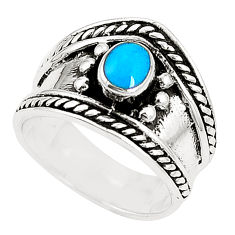 Fine blue turquoise enamel 925 sterling silver ring size 6 c12271