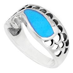 3.89gms fine blue turquoise enamel 925 sterling silver ring size 6 c12633