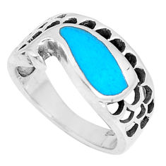 4.48gms fine blue turquoise enamel 925 sterling silver ring size 6 c21956