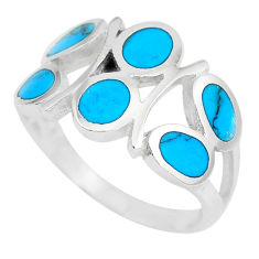 4.02gms fine blue turquoise enamel 925 sterling silver ring size 7 a88799 c13003