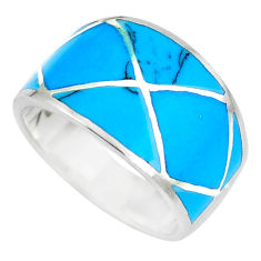 5.47gms fine blue turquoise enamel 925 sterling silver ring size 7 a88838 c13100