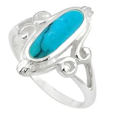 3.48gms fine blue turquoise enamel 925 sterling silver ring size 7 a91969 c13543