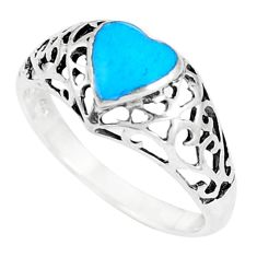 2.26gms fine blue turquoise enamel 925 sterling silver ring size 7 a93349 c13155