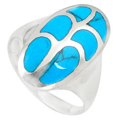 4.89gms fine blue turquoise enamel 925 sterling silver ring size 7 c12841