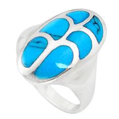 4.89gms fine blue turquoise enamel 925 sterling silver ring size 7 c12850