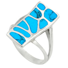 Fine blue turquoise enamel 925 sterling silver ring size 8 a64358 c13527