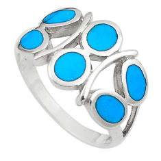 4.25gms fine blue turquoise enamel 925 sterling silver ring size 8 a91964 c13004