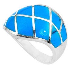 5.89gms fine blue turquoise enamel 925 sterling silver ring size 8 c12811