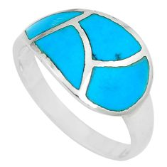4.26gms fine blue turquoise enamel 925 sterling silver ring size 9 a88739 c13090