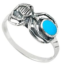 Fine blue turquoise enamel 925 sterling silver spider ring size 7 a58890 c13474