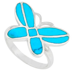 Fine blue turquoise enamel silver butterfly ring jewelry size 7 a67675 c13405