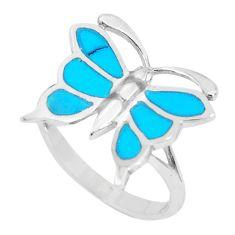 3.48gms fine blue turquoise enamel silver butterfly ring size 6 a93386 c13158