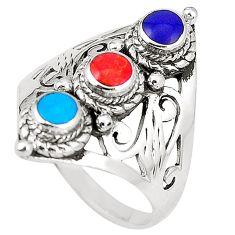 5.48gms fine blue turquoise lapis lazuli enamel 925 silver ring size 8 c11944