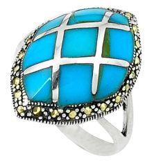 Fine blue turquoise marcasite 925 sterling silver ring size 7.5 c18743
