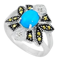 Fine blue turquoise marcasite 925 sterling silver ring size 5.5 c22086
